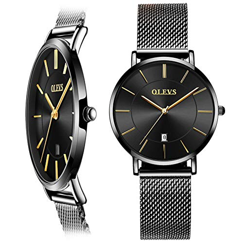 Black Thin Women Watch,Ladies Watches with Date,Ladies