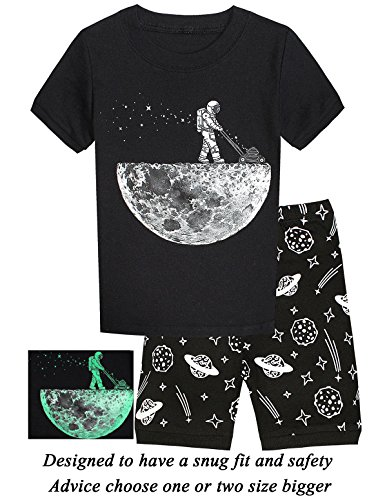 Little Pajamas Boys Pajamas Space Glow in The Dark Short Toddler Summer Clothes Kids Pjs Sleepwear 4t