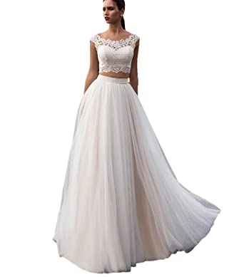 5d6304e84c Elleybuy Women's Lace Beach Wedding Dresses 2019 Two-Piece A Line Bohemian Wedding  Gown US2