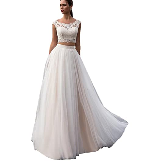 Elley Women s Two Pieces A Line Beach Wedding Dresses 2019 Bohemian Wedding  Gown US2 Ivory 2165b1683940