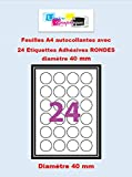 Etiquettes Adhésives - 360 étiquettes papier rondes - cercle de diametre 40 mm ( 4 cm) - Blanc Mat - pour imprimantes Laser et Jet d'encre - 15 Feuilles A4 autocollantes
