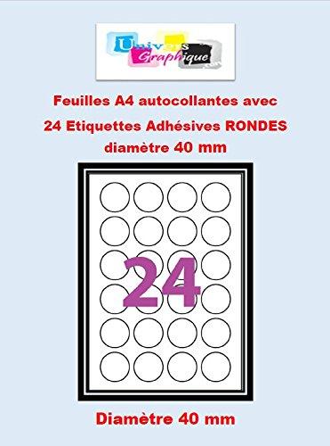 50 A4 hoja de 24 etiquetas autoadhesivas redondas de ...
