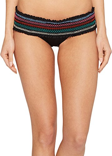 Isabella Rose Women's Crystal Cove Banded Hipster Bikini Bottom Black M
