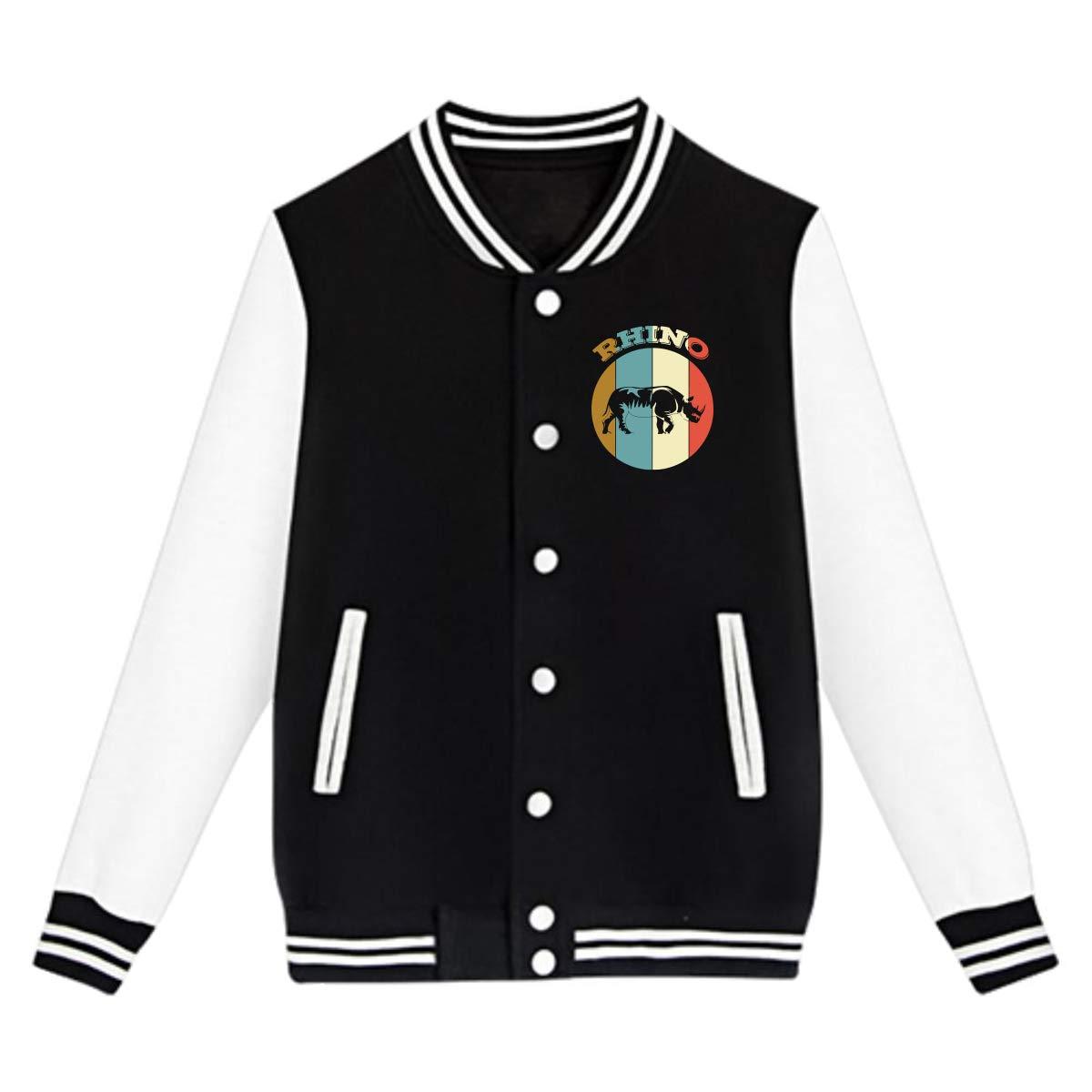 Rhino Retro Coat Sweatshirt Outwear NJKM5MJ Unisex Teen Baseball Uniform Jacket
