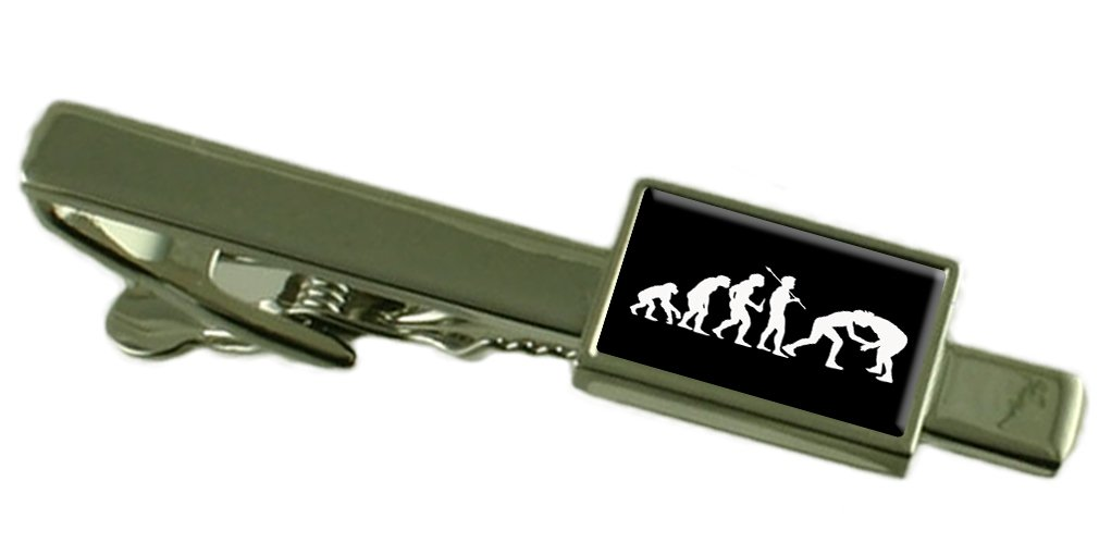Evolution Ape to Man Wrestling Tie Clip Select Gift Pouch