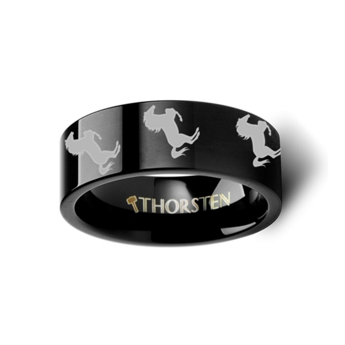 Thorsten Animal Jumping Horse on Hind Legs Equestrian Print Pattern Ring Black Tungsten Ring 8mm Wide Wedding Band from Roy Rose Jewelry
