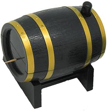 Wine Barrel Plastic Automatic Toothpick Box Container Dispenser Holder UK