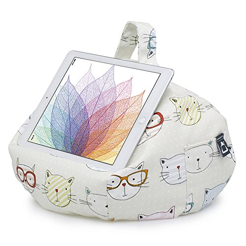 iPad Pillow & Tablet Stand - Securely Holds Any Size Tablet, eReader or Book Upto 12.9 inches, Hands Free Comfort at Any Angle on Any Surface - Cats, by iBeani