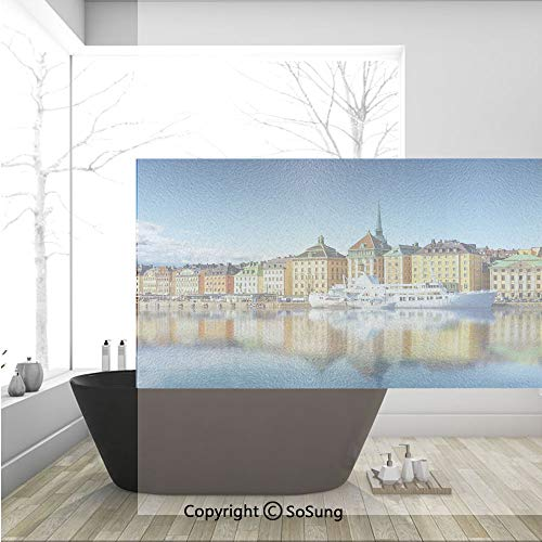 3D Decorative Privacy Window Films,Summer Panorama of the Gamla Stan in Stockholm Sweden Yacht Ship by the Port Ocean,No-Glue Self Static Cling Glass film for Home Bedroom Bathroom Kitchen Office 36x2