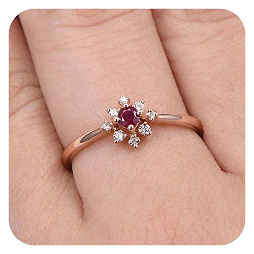 (Dabangjewels 7mm Round Cut Pink Ruby & Diamond 14k Rose Gold Over .925 Sterling Silver Flower Cluster Wedding Ring For Women's)
