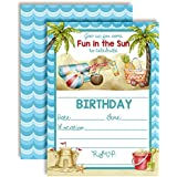 """Beach Time Fun in The Sun Watercolor Birthday Party Invitations, Ten 5""""x7"""" Fill in Cards with 10 White Envelopes by AmandaCreation"""