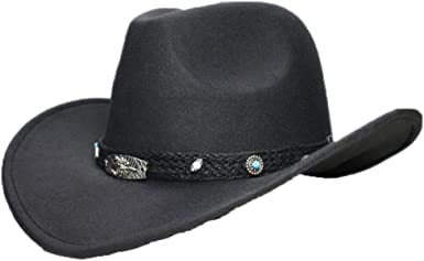 ASO-SLING Faux Felt Wide Brim Western Cowboy Hat Wool Outback Cattlemen Hat with Black Band