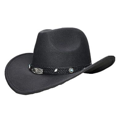 66fc0589da3ae ASO-SLING Faux Felt Wide Brim Western Cowboy Hat Outback Hat Retro Black  Scorpion Leather