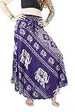 Boho Vib Women's Long Bohemian Summer Skirt Dress Plus Size Elephant 1 Purple