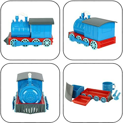 Amazon Com Kidsfunwares Chew Chew Train Kids Dinnerware Set With Utensils Blue Kitchen Dining