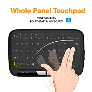 Wireless Mini Keyboard and Mouse Combo, Okela 2.4 2.4GHz Whole Panel Touchpad Handheld Remote for Android TV Box, Windows PC, HTPC, IPTV, Raspberry Pi, XBOX 360, PS3, PS4(Black)