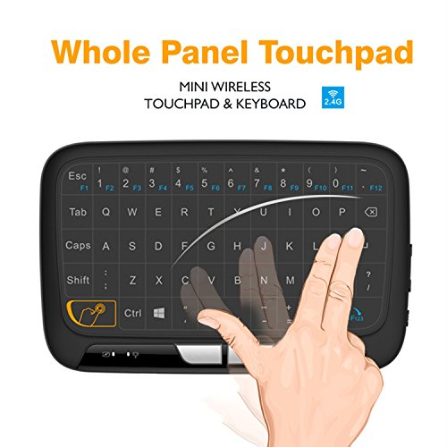 Wireless Mini Keyboard and Mouse Combo, Okela 2.4 2.4GHz Whole Panel Touchpad Handheld Remote for Android TV Box, Windows PC, HTPC, IPTV, Raspberry Pi, XBOX 360, PS3, PS4(Black) - Panel Keyboard