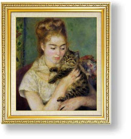 ルノワール ネコと少女 F10 油絵直筆仕上げ| 絵画 10号 複製画 ゴールド額縁 673×599mm