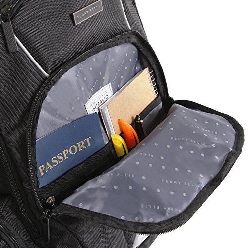 51QYKxlJjnL - Perry Ellis Men's 9-Pocket Professional Laptop Backpack-P350 Business Backpack, Black, One Size