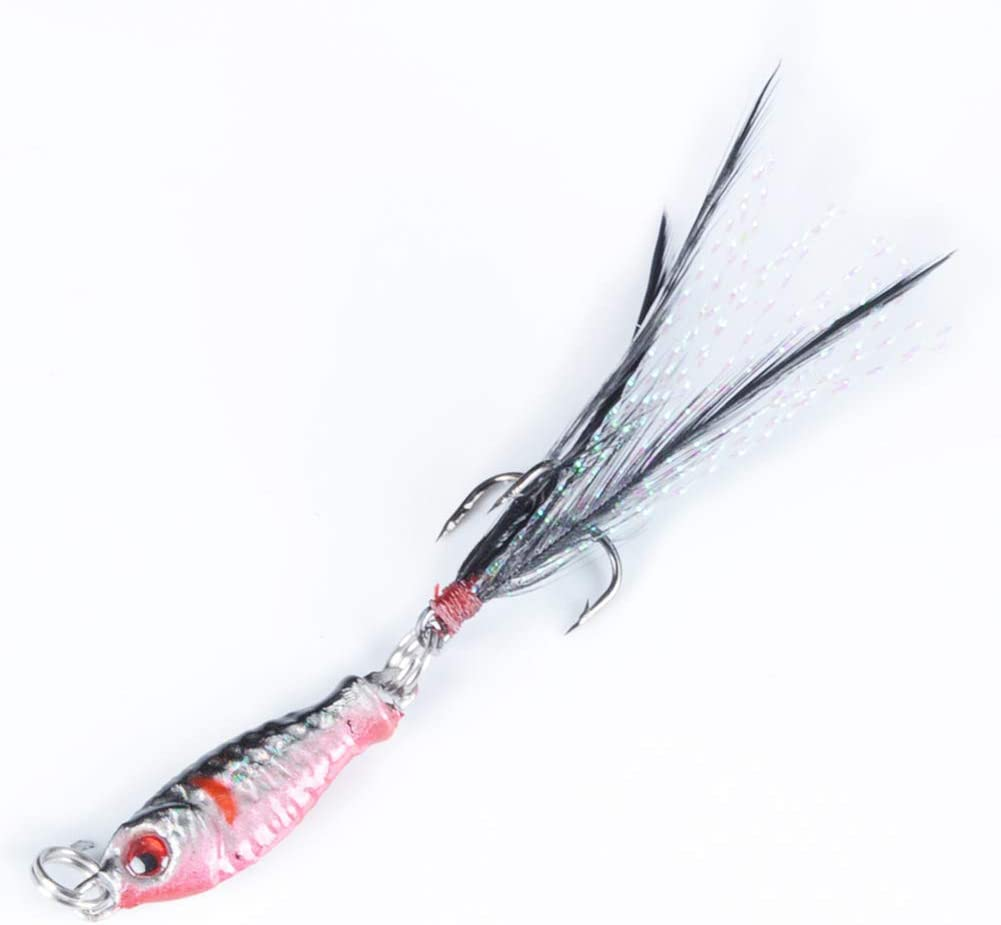 pushfocourag 2cm Small Carp Lure 3D Eyes Artificial Alloy Baits Feather Fishing Tackle Tools