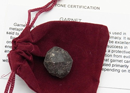 Almandine Garnet Crystal - Fundamental Rockhound Products: Almandine Garnet Natural Gemstone Crystal with Carrying Pouch, info Card, Stone Certification (1 pc) (37 Grams)