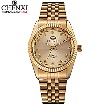 CHENXI reloj lujo unisex acero dorado dial negro con movimiento japonés de cuarzo con caja: Amazon.es: Deportes y aire libre