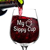 DU VINO My Sippy Cup Funny Novelty Wine Glass - 12.75 oz. - Humorous Present for Mom, Women, Friends, or Her - Made in USA