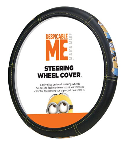 Covers Wheel Boat Steering (Plasticolor 006766R01 Universal Minions Stacked Steering Wheel Cover)