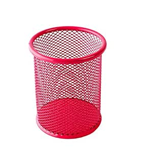 Mikey Store Cylinder Shaped Style Plastice Pen Ruler Pencil Holder (Hot Pink)