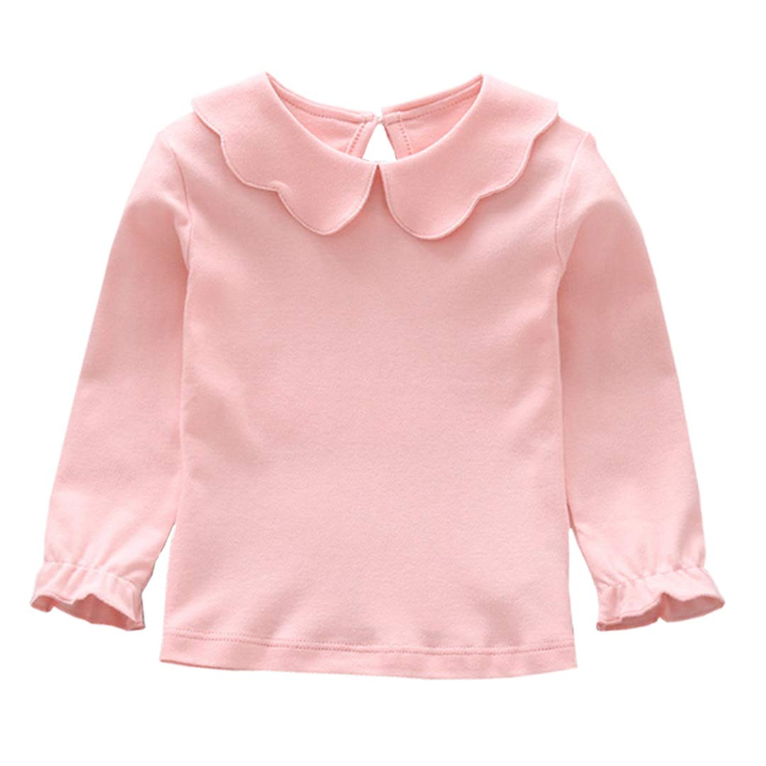 AIKSSOO Girls Tops Tee Kids Peter Pan Collar Blouse Long Sleeve Bottoming Shirt