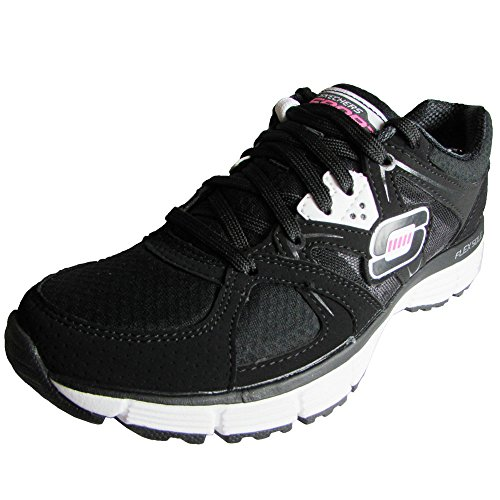 Skechers Womens 11694 Agility New Vision Athletic Shoe, Black/White, US 5.5