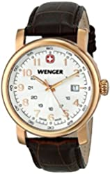 Wenger Urban Classic White Dial Gold-Tone SS Leather Quartz Men's Watch 01.1041.109