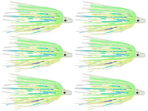 Last Cast Tackle Silicone Holo Teaser - 6 Pack - 5 Colors to Choose from (Green/Yellow)
