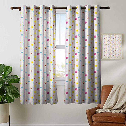(Blackout Curtains Yellow and Blue,Vertical Thin Stripes with Little Flowers and Colorful Tulips, Pink Yellow Pale Blue,for Bedroom,Nursery,Living Room 42