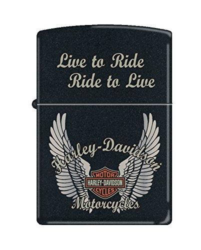 - Zippo Harley-Davidson Wings Pocket Lighter, Black Matte