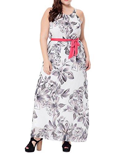 pgooodp Women's Floral Sundress Sleeveless Maxi Party Beach Dress White US 14W