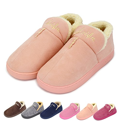 Casual Shoes Booties Down (Winter Home Men House Slippers Shoes Plush Anti-Slip Cotton Indoor Booties for Bedroom Office Gift Light-Pink US 6.5-7)