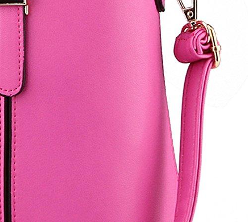 MissFox Mujeres Correa Ajustable Portable Clip Retro Cremallera Bolso Tote Bolso Rose
