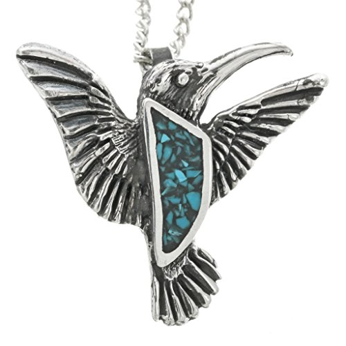 - Turquoise Silver Pueblo Hummingbird Pendant With Chain Inlaid Sterling 2235