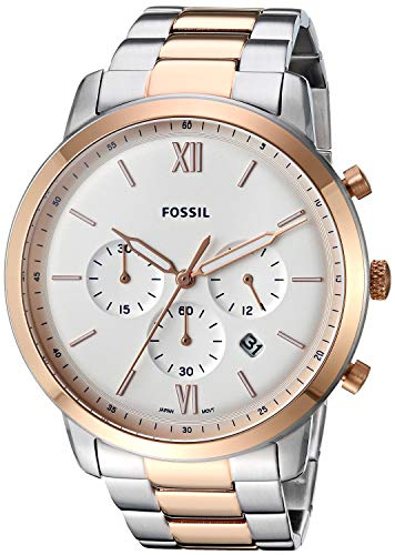 (Fossil Men's Neutra Chrono Quartz Stainless-Steel-Plated Strap, Rose Gold, 22 Casual Watch (Model: FS5475))