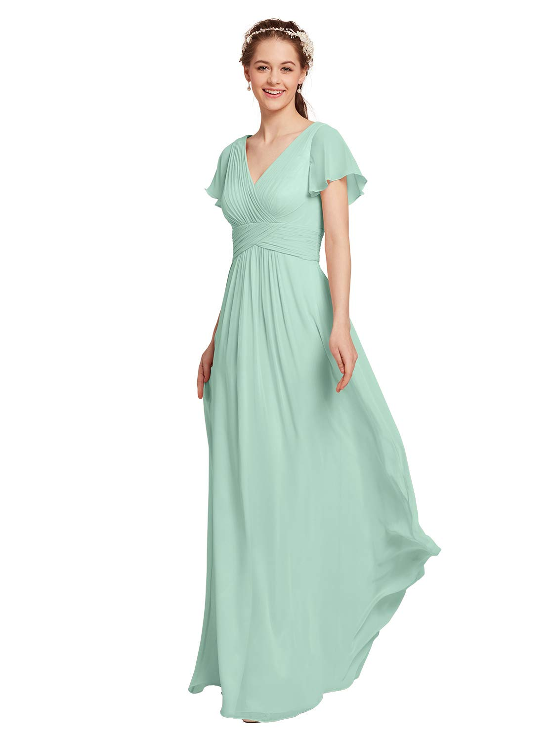 AW Chiffon Bridesmaid Dress with Sleeves V-Neck Wedding Maxi Evening Party  Dress Long Plus Size Prom Gowns, Mint Green, US24