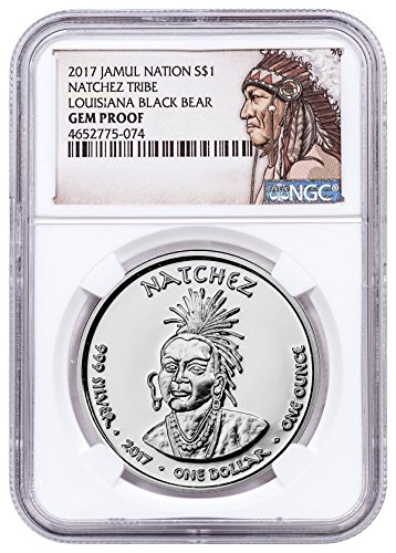 2017 Native American Silver Dollar - Louisiana Natchez - Black Bear 1 oz Silver Proof Coin Native American Label $1 GEM Proof - 1 Proof Oz Silver Gem