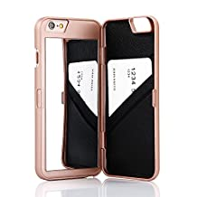 """iPhone 6 /6s Case,Wetben Hidden Back Mirror Wallet Case with Stand Feature and Card Holder for Apple iPhone 6 , 6S 4.7"""" inch (Rose Gold)"""