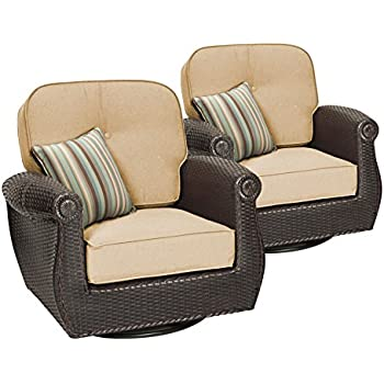 La Z Boy Outdoor Breckenridge Resin Wicker Swivel Rocker 2 Piece Patio  Furniture Set