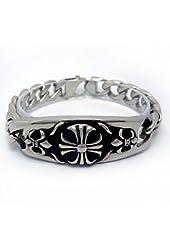 Mens Titanium Steel Bracelet Link Wrist Silver Black Cross Flower Biker