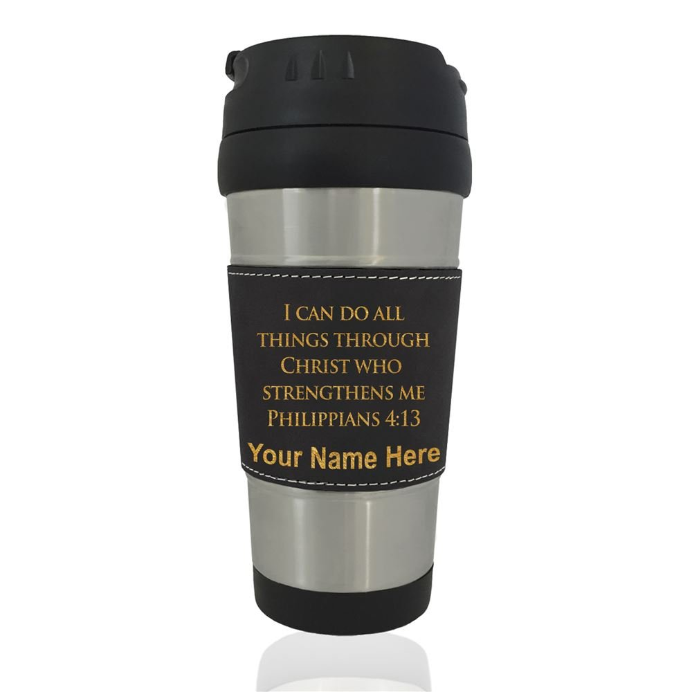 Travel Mug - Bible Verse Philippians 4:13 - Personalized Engraving Included (Black)