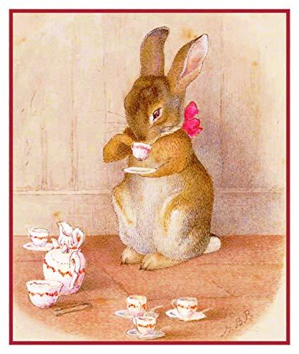 Peter Stitch Cross Rabbit Pattern (Peter Rabbit Having Tea Inspired by Beatrix Potter Counted Cross Stitch Pattern)