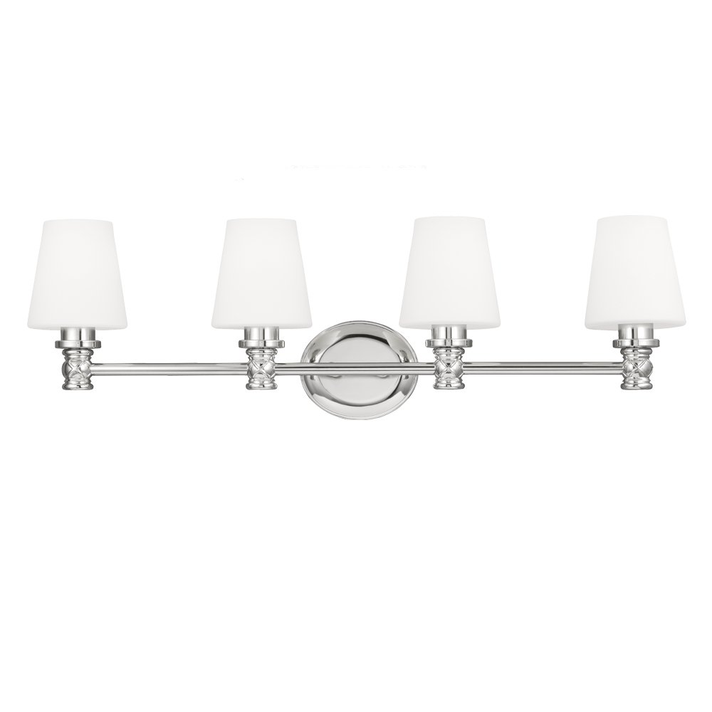 32W x 10H 4-Light Chrome 300watts Feiss VS22104PN Xavierre Glass Wall Sconce Lighting
