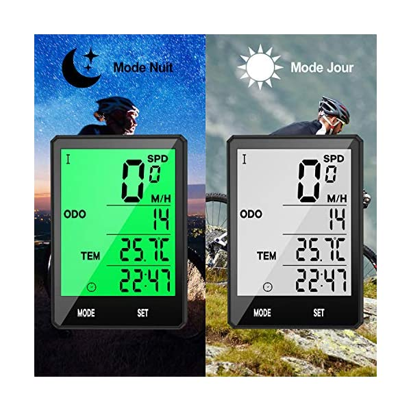 Prumya Compteur de Vélo, Ordinateur de Vélo sans Fil Étanche, Écran LCD Rétroéclairage Multifonctions Compteur…