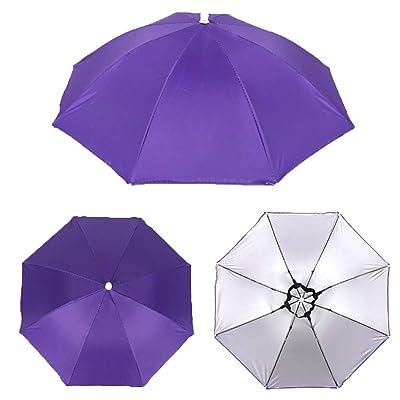 tbpersicwT Outdoor Foldable Anti-Rain Sun Shade Adult Head Umbrella Fishing Cap Headwear Sun Parasol Daily Folding Umbrella - Purple : Garden & Outdoor